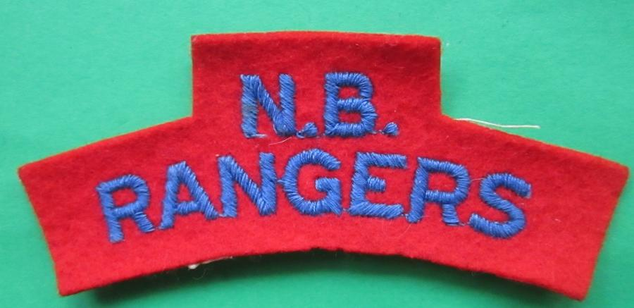 A WWII N B RANGERS EMBROIDERED SHOULDER TITLE