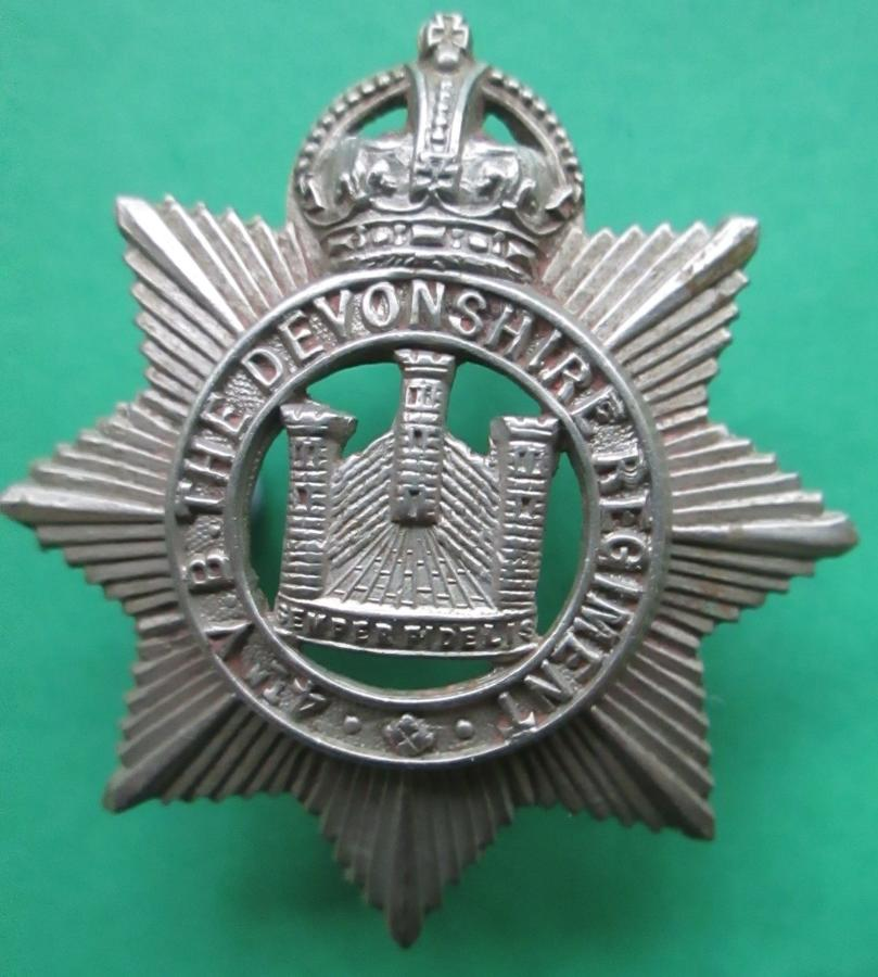 A 4th VOLUNTEER BATTALION DEVONSHIRE REGT CAP BADGE