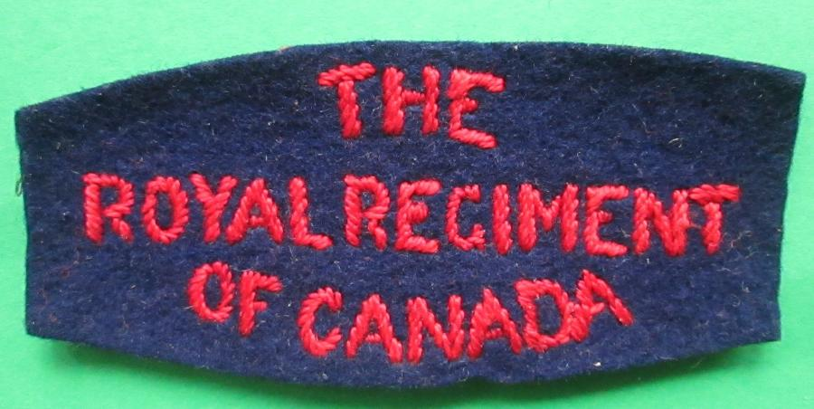 A WWII ROYAL REGT OF CANADA SHOULDER TITLE