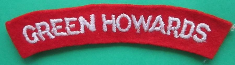 A GREEN HOWARDS SHOULDER TITLE