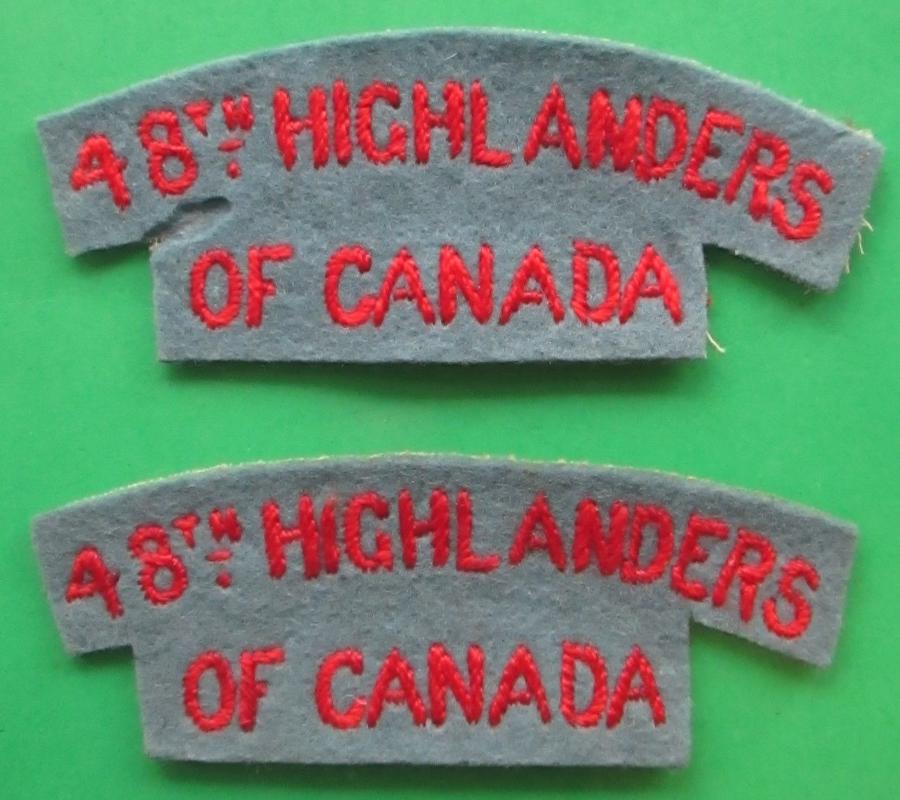 A GOOD MATCHING PAIR OF 48th HIGHLANDERS OF CANADA TITLES