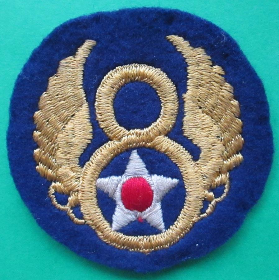 A WWII US 8TH ARMY AIR FORCE BRITISH MADE PATCH