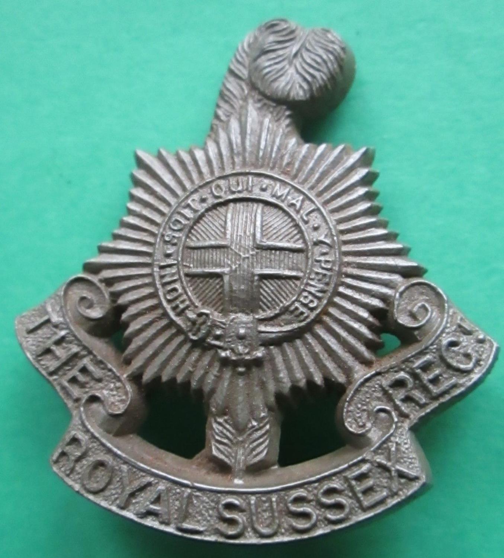 A WWII PLASTIC ROYAL SUSSEX REGT CAP BADGE