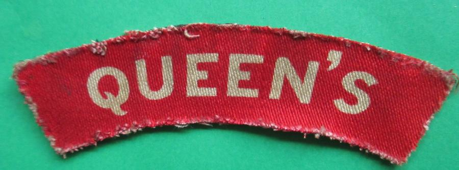 A QUEEN'S PRINTED SHOULDER TITLE