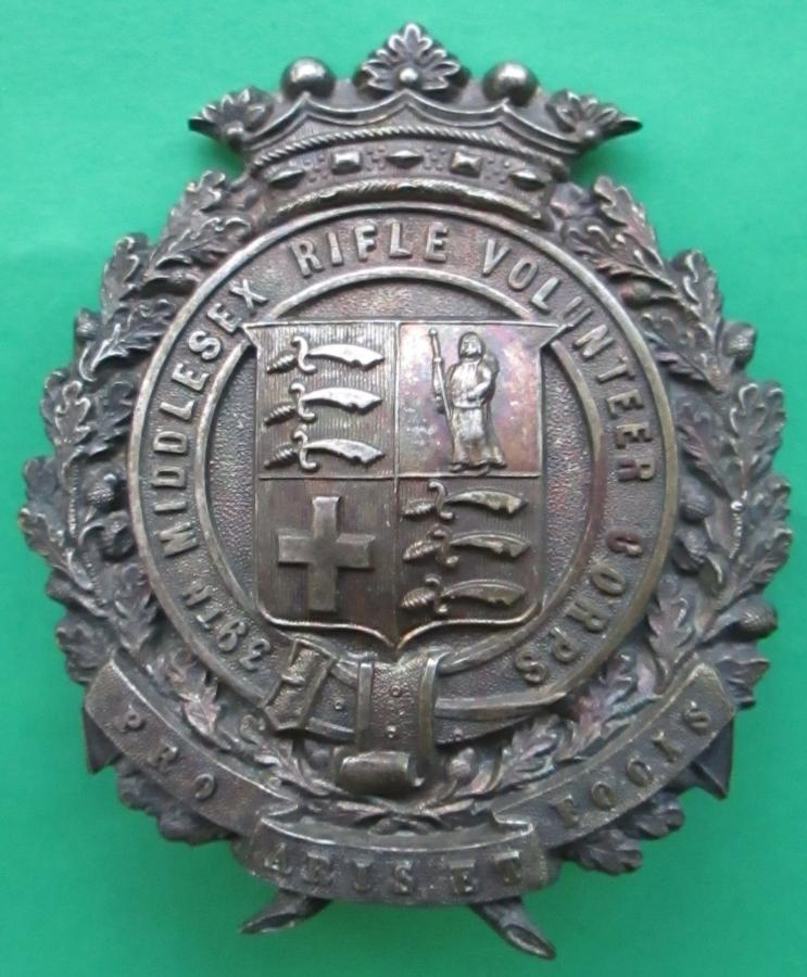 A VICTORIAN MIDDLESEX RIFLE VOLUNTEER CORPS SHAKO BADGE