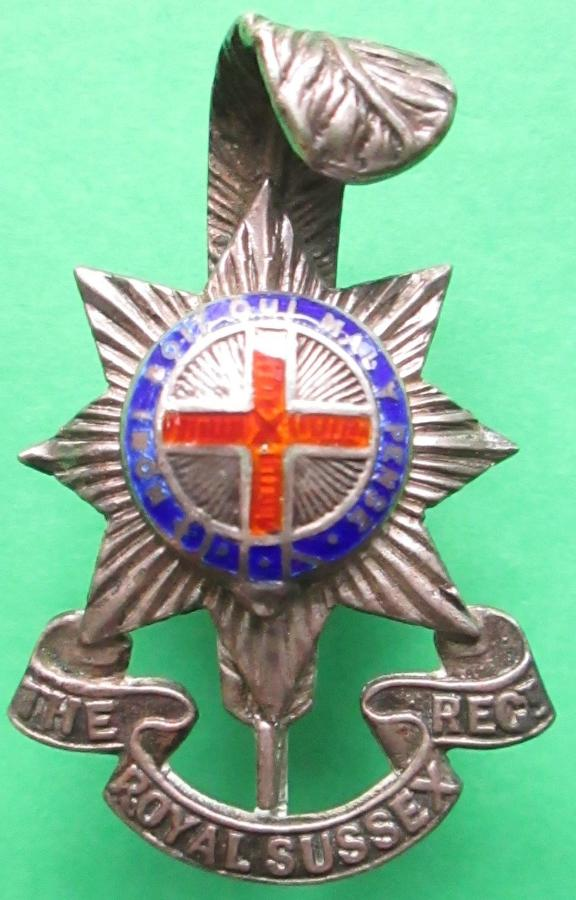 A ROYAL SUSSEX REGT OFFICERS FEATHER CAP BADGE