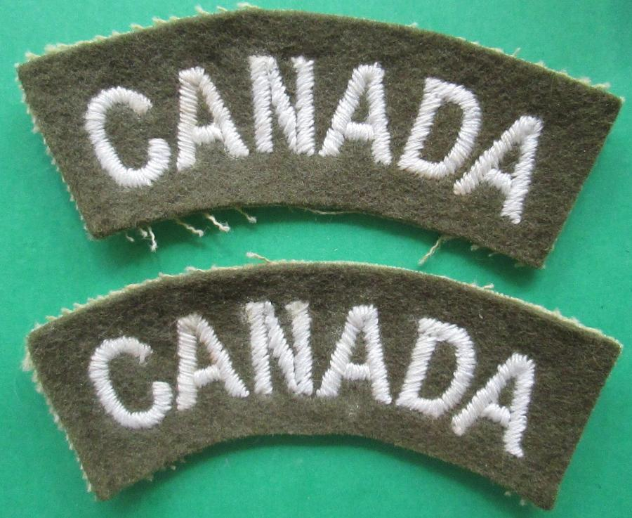 A PAIR OF THE CANADIAN WWII CANADA SHOULDER TITLES CURVED