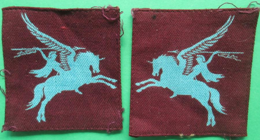 A GOOD PRINTED PAIR OF WWII PERIOD PEGASUS PATCHES