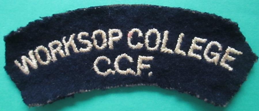 WORKSOP COLLEGE C.C.F SHOULDER TITLE