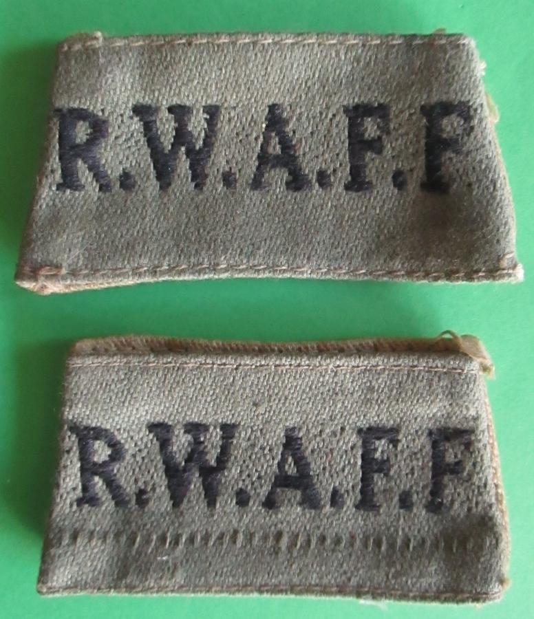 A PAIR OF RWAFF SLIDE ON TITLES