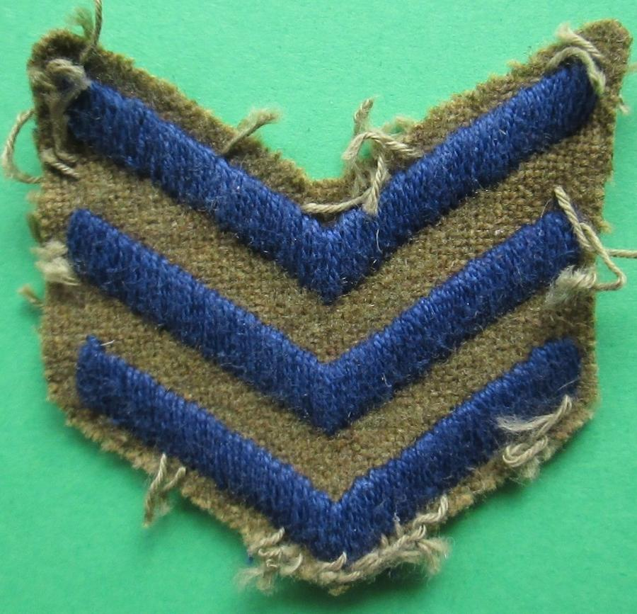 A WWI GROUP OF 3 BLUE WAR SERVICE STRIPS