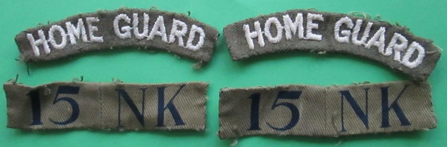 A COMPLETE SET OF HOME GUARD SHOULDER INSIGNIA