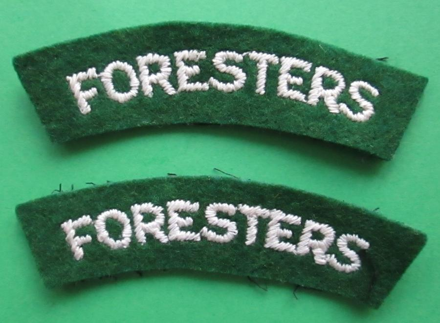 A PAIR OF FORESTERS SHOULDER TITLES