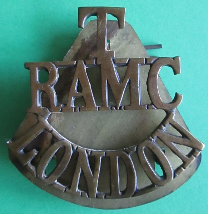 A TERRITORIAL RAMC LONDON BRASS SHOULDER TITLE