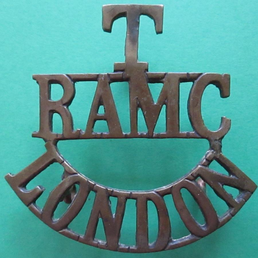 A TERRITORIAL ROYAL ARMY MEDICAL CORPS LONDON SHOULDER TITLE