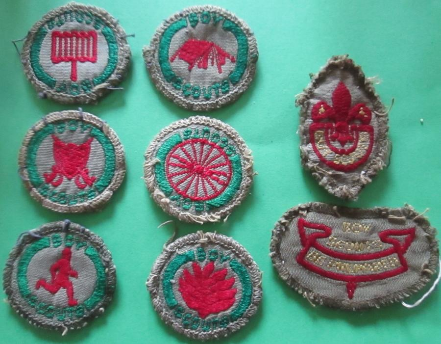 A SMALL GROUP OF 8 1940'S KHAKI BOY SCOUTS BADGES
