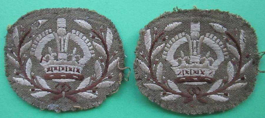 A PAIR OF MATCHING WARRANT OFFICERS ARM BADGES