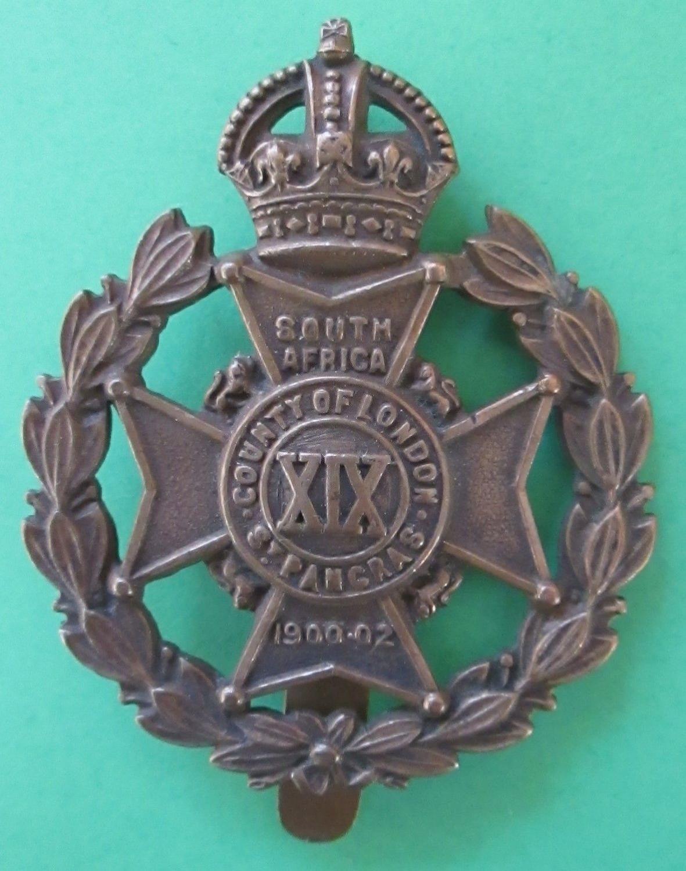 A 19TH COUNTY OF LONDON St PANCRAS RIFLES CAP BADGE