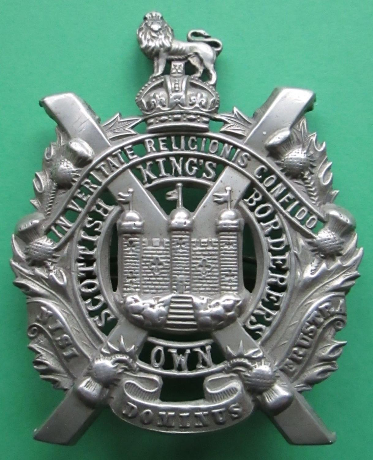 A KINGS OWN SCOTTISH BORDERERS WARRANT OFFICERS BADGE