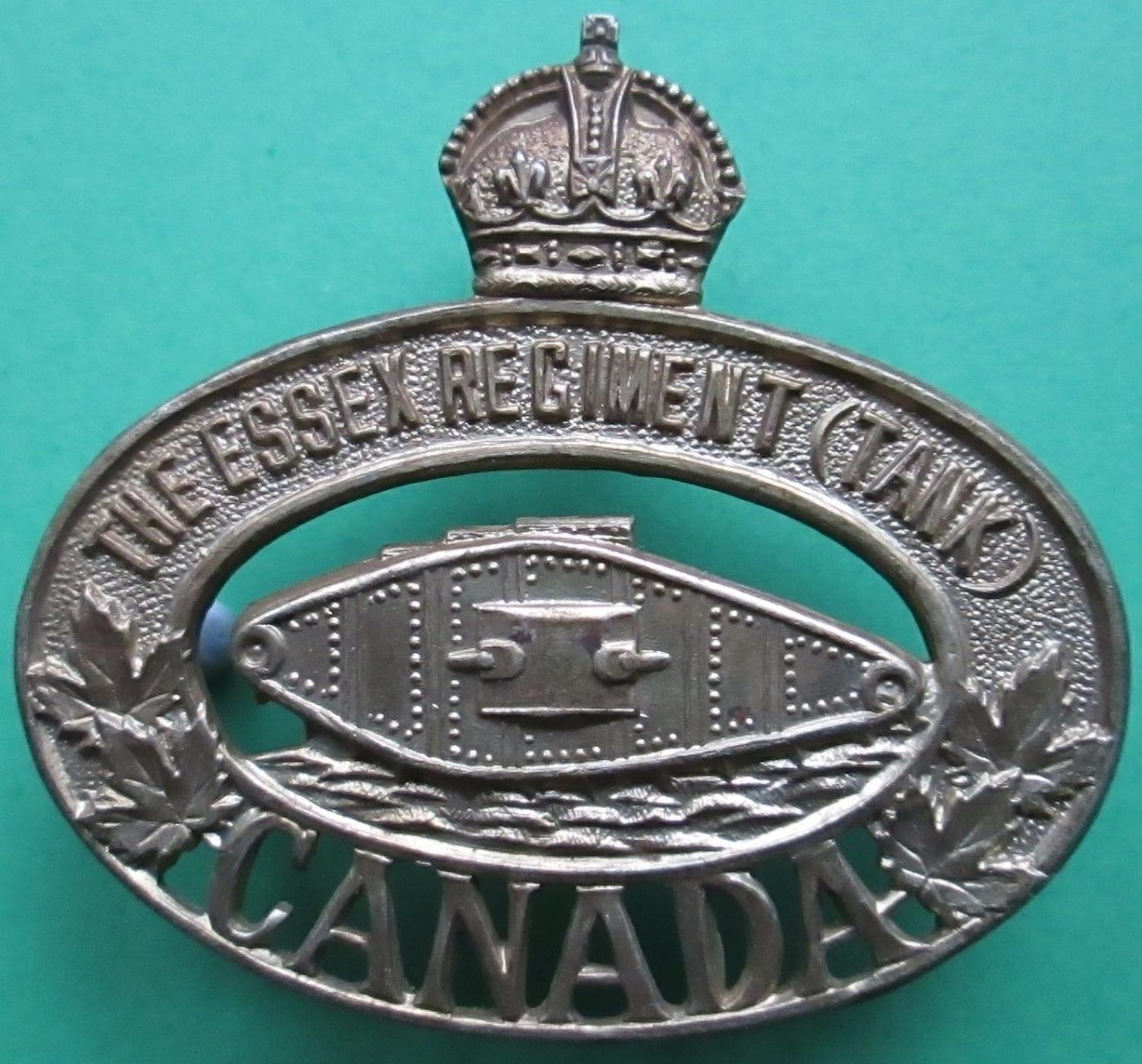 THE ESSEX TANK REGIMENT CANADA CAP BADGE MADE BY SCULLY