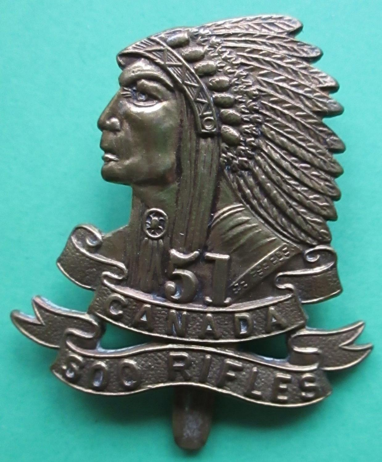 CAP BADGE FOR THE 51st CANADIAN SOO RIFLES