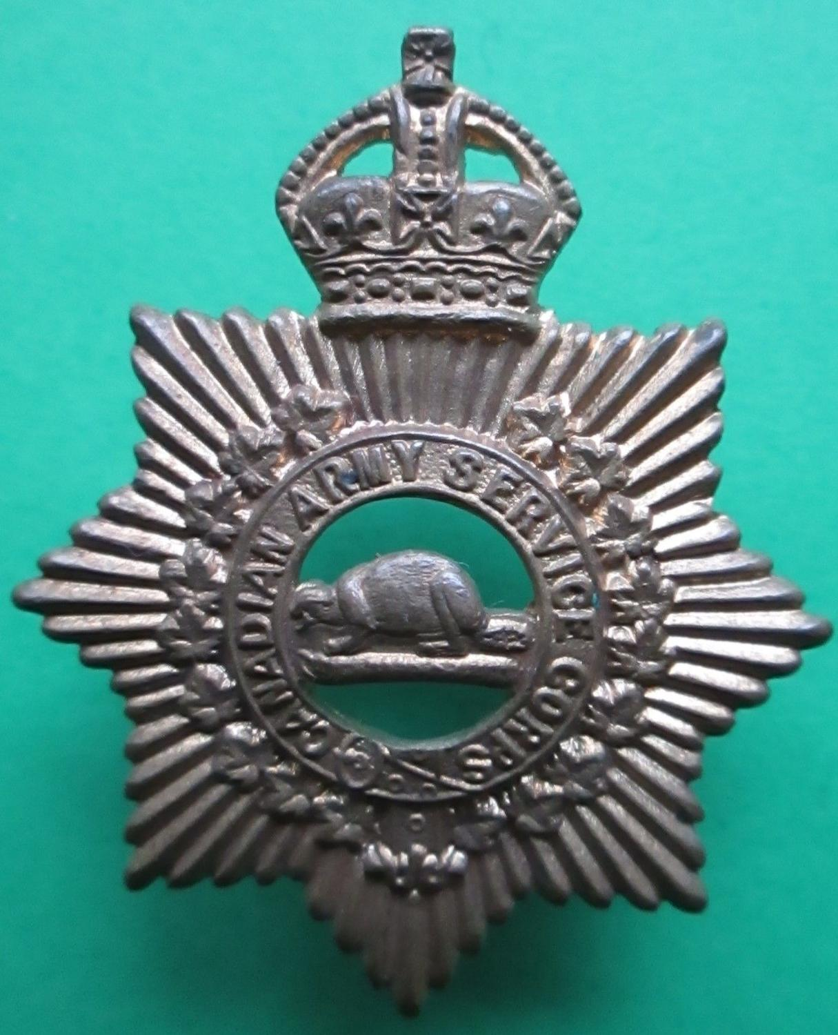 A COLLAR BADGE FOR THE CANADIAN ARMY SERVICE CORPS