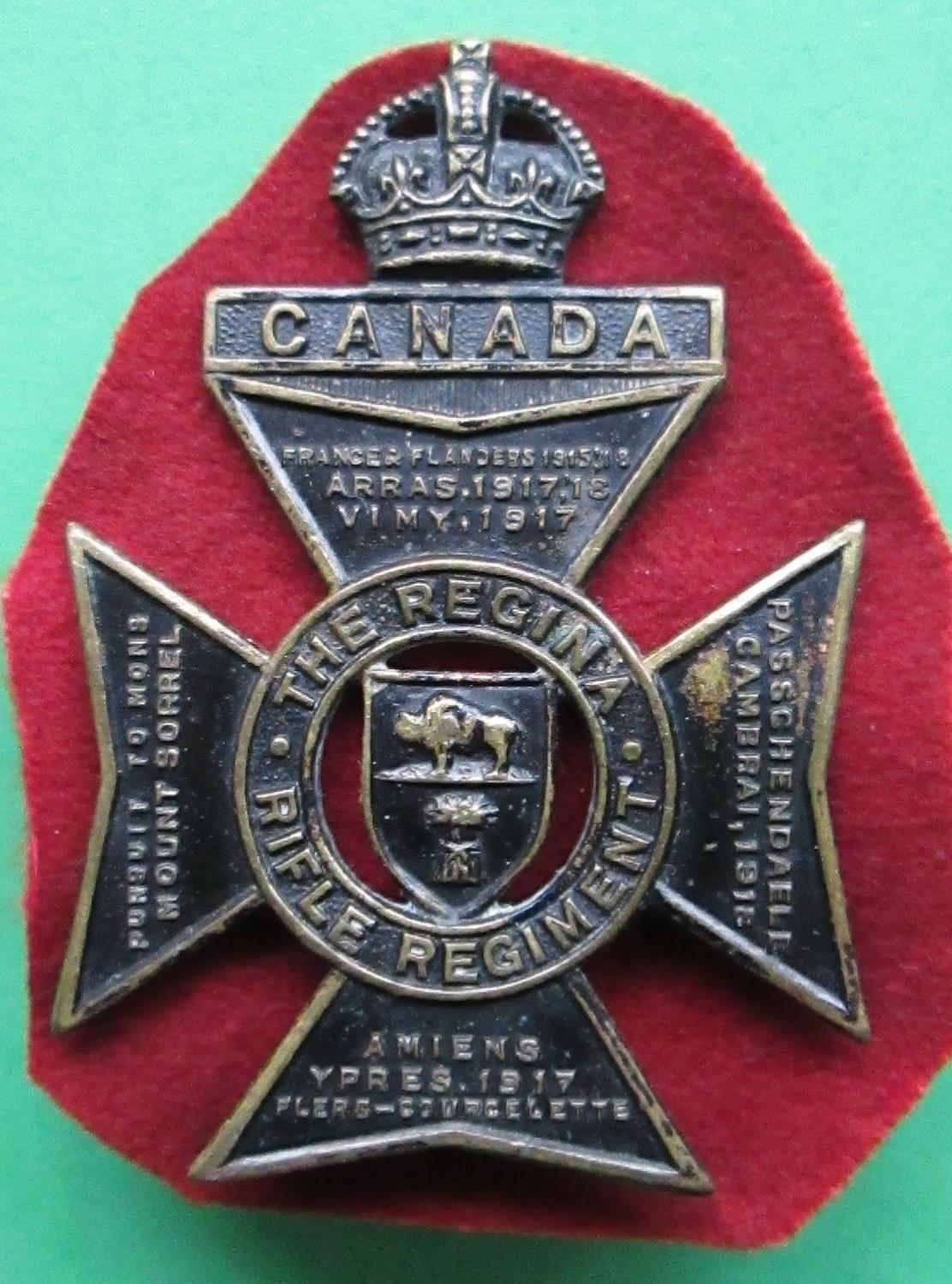 THE REGINA RIFLE REGIMENT ( CANADIAN ) CAP BADGE