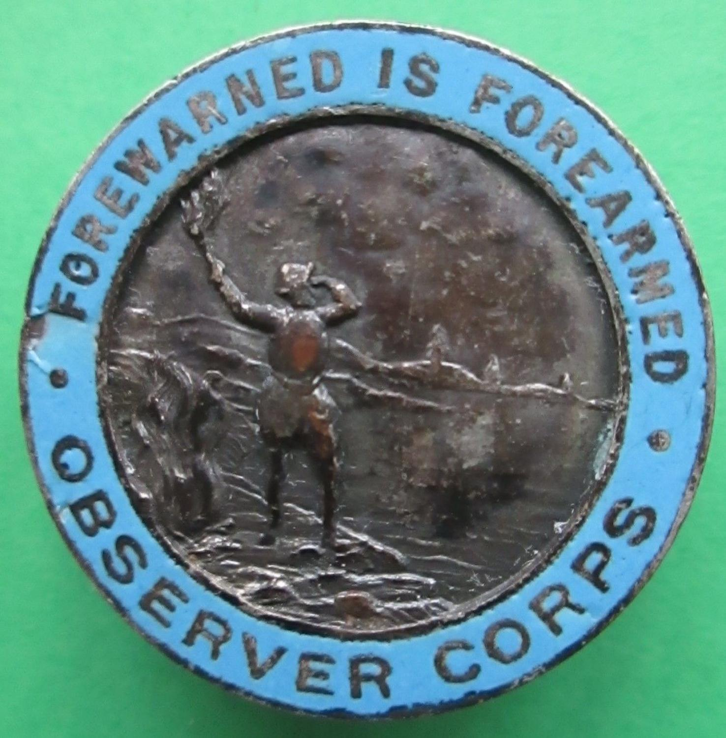 A WWII PRE ROYAL EXAMPLE OF THE OBSERVER CORPS LAPEL BADGE