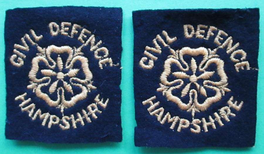 A PAIR OF CIVIL DEFENCE HAMPSHIRE PATCHES
