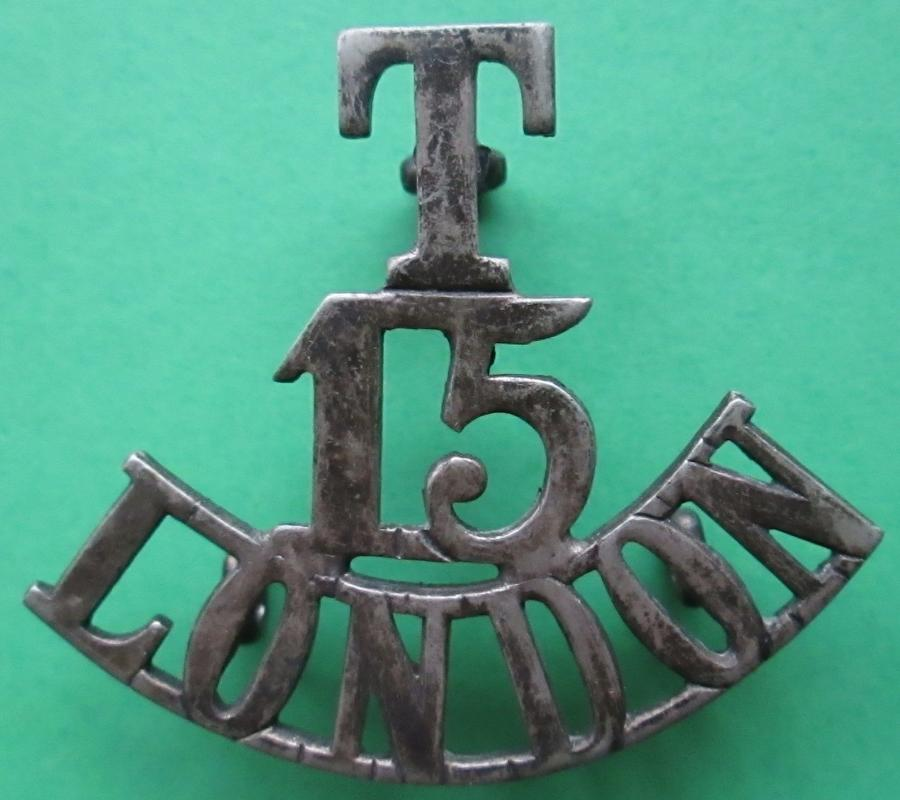 A SILVER PLATED T 15 LONDON SHOULDER TITLE
