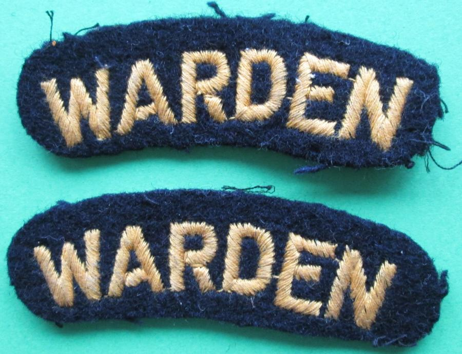 A PAIR OF WARDEN BADGES