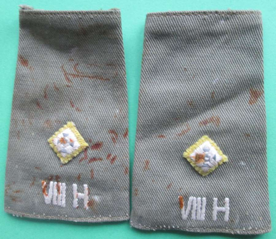 A MATCHING USED PAIR OF 8th HUSSARS POST WWII RANK SLIDES