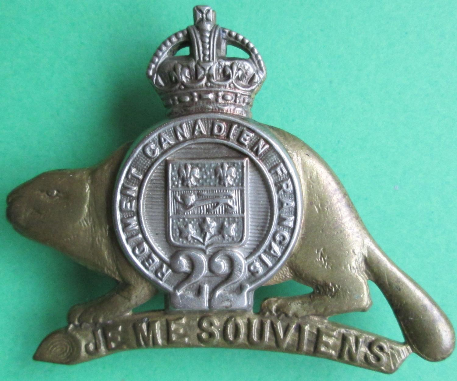 A CAP BADGE FOR THE FRENCH CANADIAN 22ND