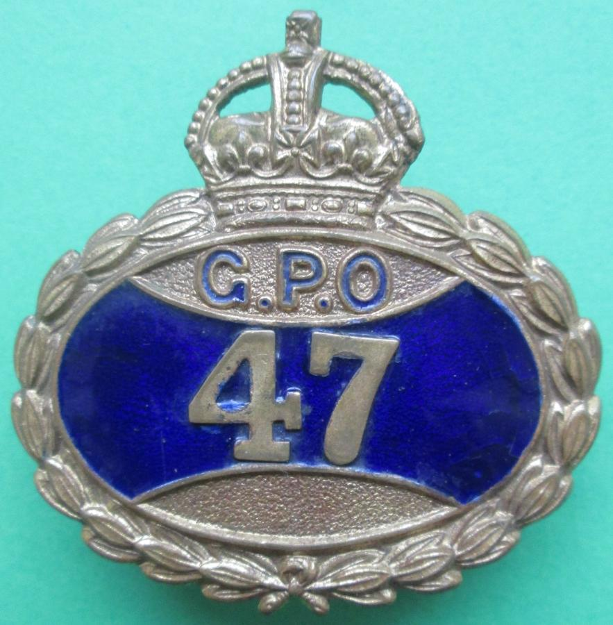 A PRE 1952 G.P.O BADGE WITH KING'S CROWN