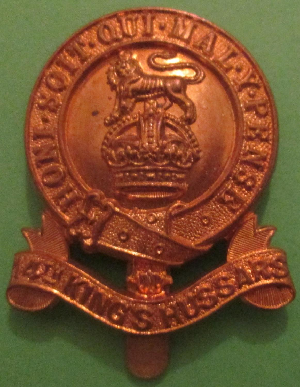 A GOOD PRE 1922 14TH KINGS OWN HUSSARS CAP BADGE