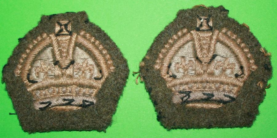 A PAIR OF SGT MAJORS KINGS CROWNS WWII PERIOD