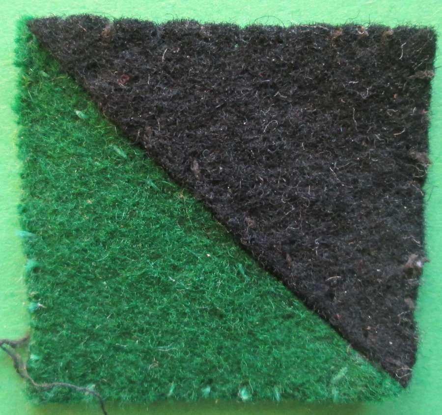 A SCARCE WWII RIFLE BRIGADE GREEN AND BLACK ARM PATCH