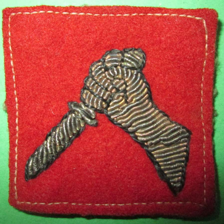 A BULLION WIRE 19TH INDIAN DIVISION FORMATION SIGN
