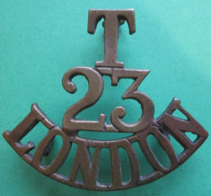 A 23RD LONDON ( EAST SURREY ) TERITORIAL REGT SHOULDER TITLE