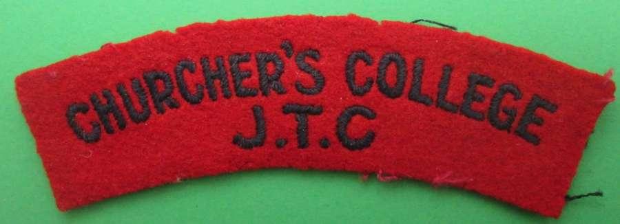CHURCHER'S COLLEGE J.T.C SHOULDER TITLE