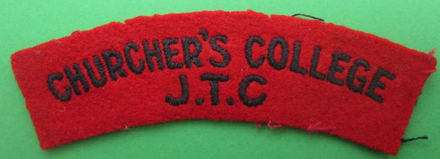 CHURCHER'S COLLEGE J.T.C SHOULDER TITLE