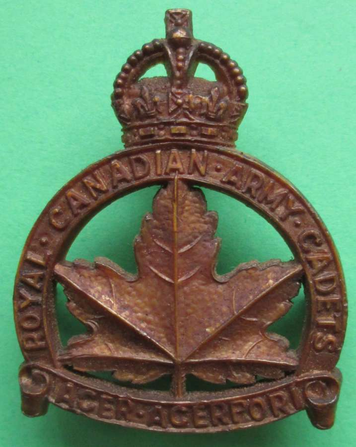 A CANADIAN PLASTIC ARMY CADET CORPS WWII PERIOD CAP BADGE