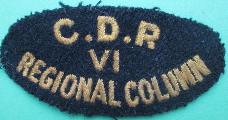 A WWII CIVIL DEFENCE RESCUE VI REGIONAL COLUMN PATCH