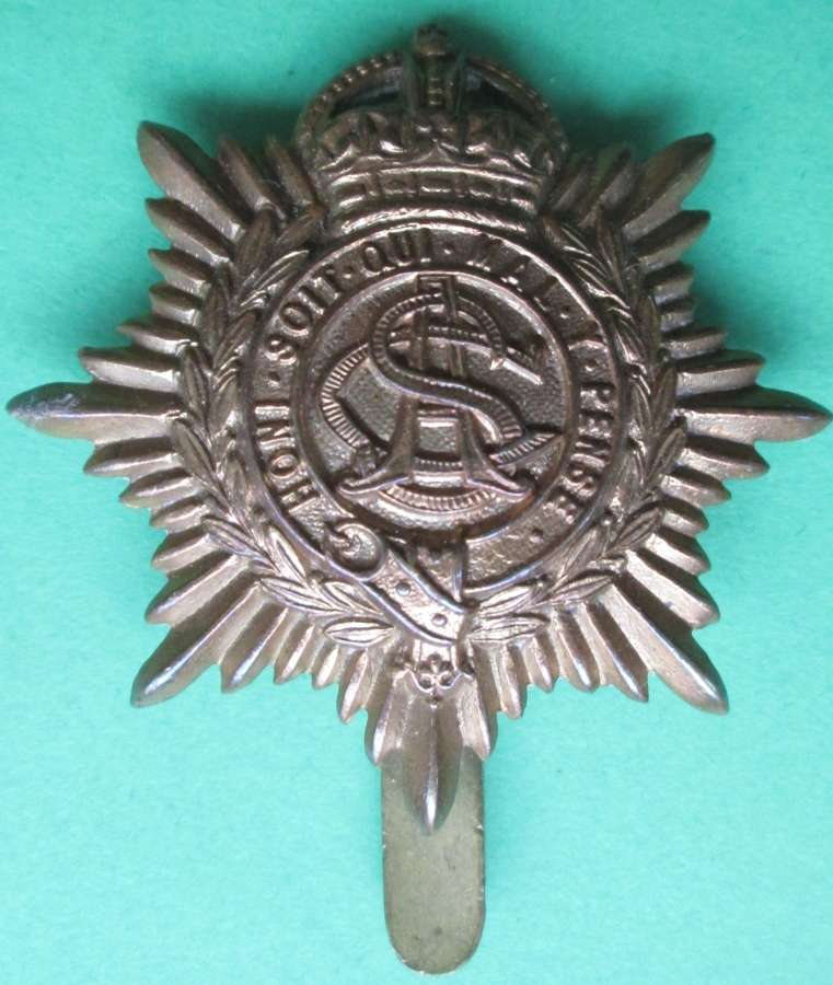 A WWI ECONOMY ARMY SERVICE CORPS CAP BADGE