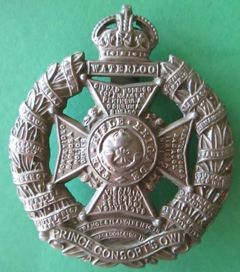 A RIFLE BRIGADE CAP BADGE