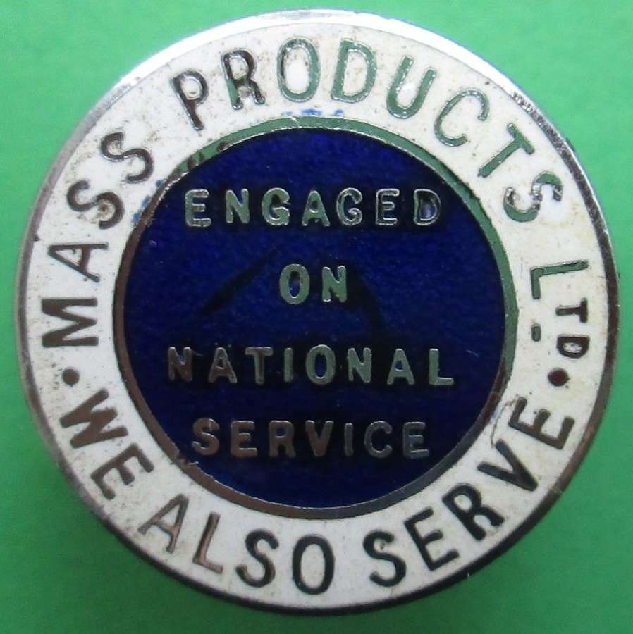 A WWI MAS PRODUCTS ON NATIONAL SERVICE LAPEL BADGE