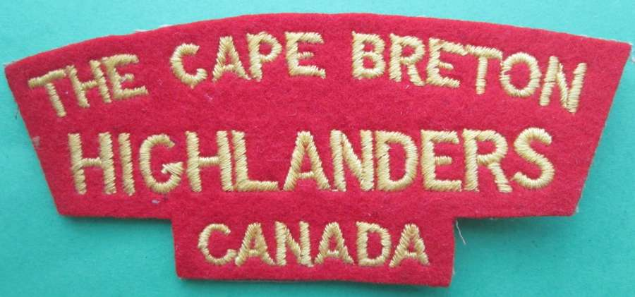 A CAPE BRETON HIGHLANDERS CANADA SHOULDER TITLE