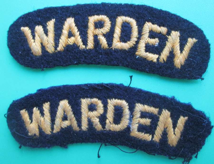A PAIR OF WWII AIR RAID WARDENS SHOULDER TITLES