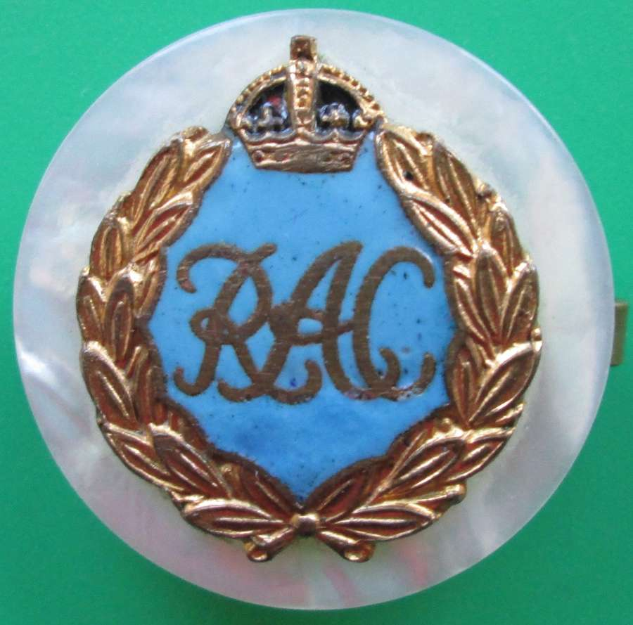 ROYAL ARMY CORPS MOTHER OF PEARL BACKED SWEETHEART BROOCH