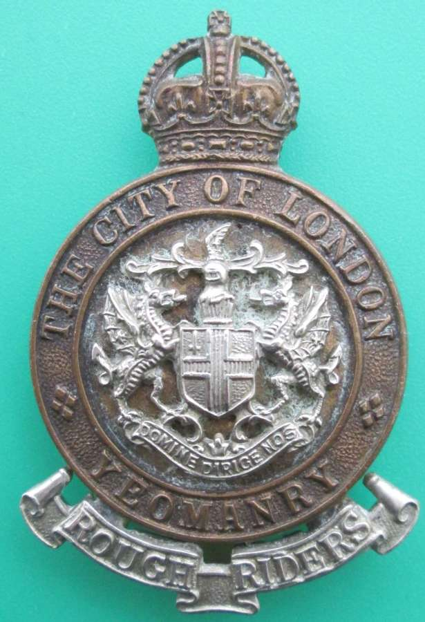 THE CITY OF LONDON YEOMANRY (ROUGH RIDERS) CAP BADGE